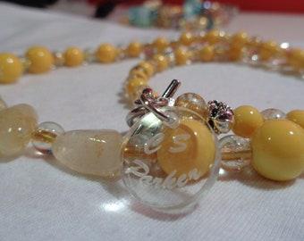 citrine yellow glass beads