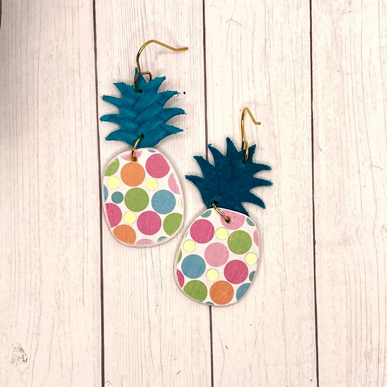 Pineapple Earrings Genuine Leather and Wood White with Polka Dots and Teal leather Boho Earrings Statement Jewelry