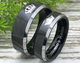 Wedding Band King Queen Wedding Ring Tungsten Wedding Band Tungsten Ring For Mens Anniversary Ring Triforce Promise Ring