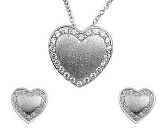 Heart Jewelry, satin Heart Sterling Silver Heart and CZ Necklace & Earring Sets, Gift For Mom, Bridal Gift Sets,