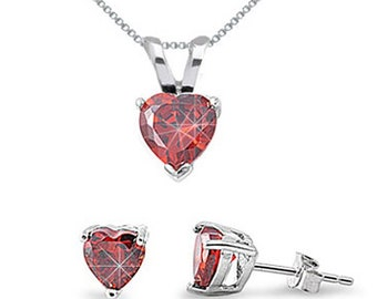 Garnet January Birthstone Jewelry, Sterling Silver Simulated Garnet Necklace & Earring Sets, Gift For Mom, Heart Necklace, Heart Earrings