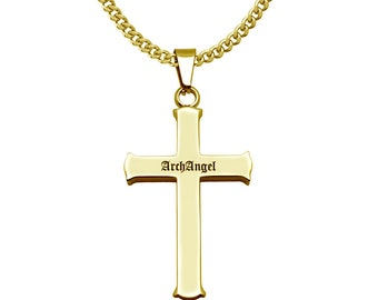 2f37dde4e7 Cross Necklace, Mens Cross Pendant Necklace, Personalized Yellow Gold Plated  Stainless Steel Cross Necklace with Curb Link Chain