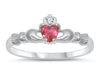 handmade Ruby Claddagh Ring Irish love loyalty friendship fidelity July Birthstone Hand Crafted Recycled Sterling Silver natural ruby