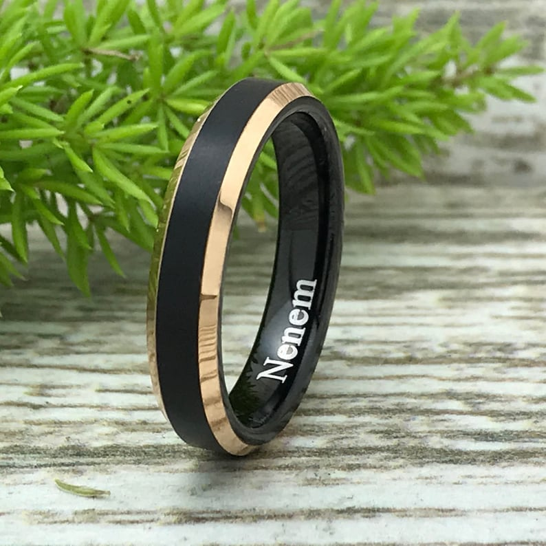 Comfort Fit 8mm4mm Tungsten Wedding Rings Two Tone Rose Gold Tungsten Ring Personalize Tungsten Wedding Rings