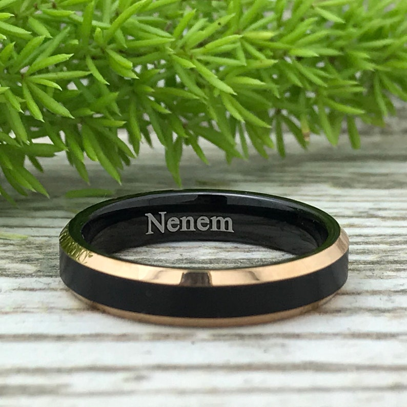 Skinny Ring Two Tone Black and Rose Gold Tungsten Ring Personalized Tungsten Ring,Promise Ring 4MM Tungsten Wedding Band