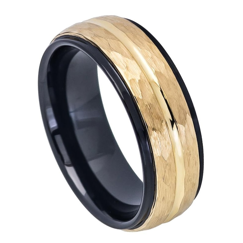 Gift for Him 8MM  Tungsten Wedding Band,Personalized  Two Tone Gold and Black Plated Tungsten Ring Unisex Wedding Ring,Gift for Her