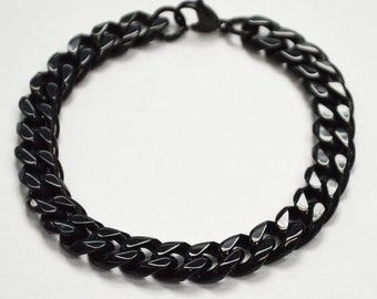 11mm Mens Bracelet, Black Heavyweight Stainless Steel Cuban Link Bracelet for Men, Father's Day Gift 9 Inches