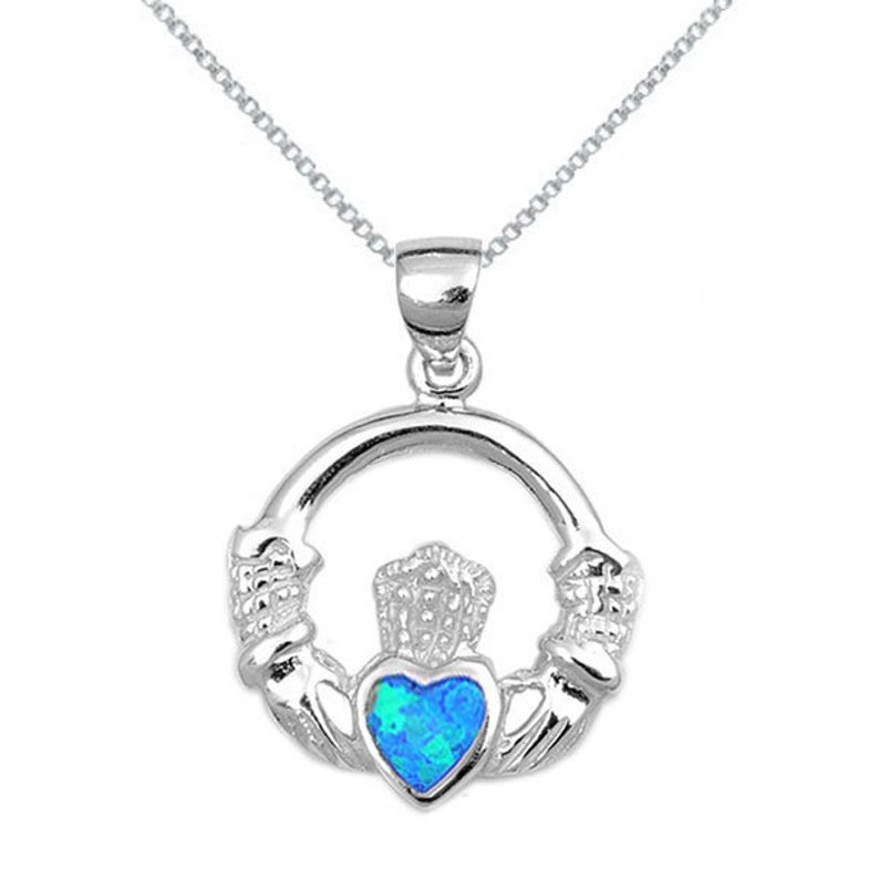 Opal Claddagh Necklace Valentine/'s Gift Opal Claddagh Necklace in Silver Box Chain Necklace Sterling Silver Heart Opal Claddagh Necklace