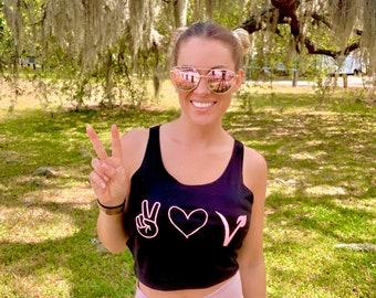 Peace Love and Vegan Crop Top