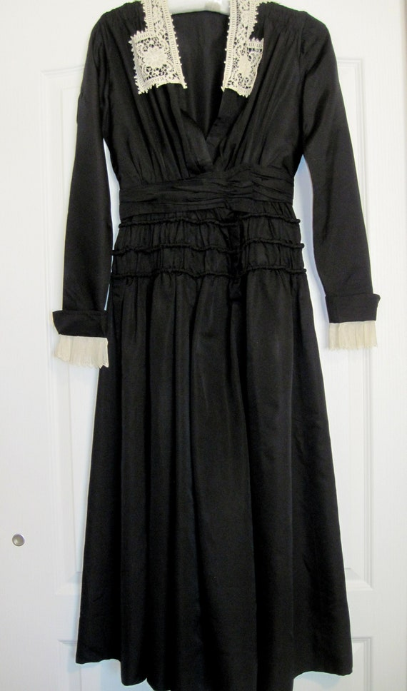 Vtg Handmade Black Silk Dress with Handmade Lace