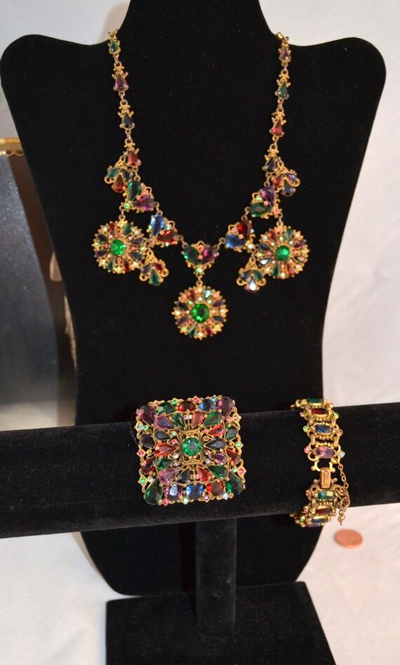 Matched Necklace Set Parure Stones 1930s