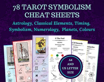 Tarot Symbolism Cheat Sheets, for beginner or advanced Tarot readers, printable, instant download ebook.