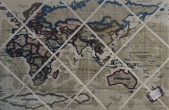 Custom Handmade Bespoke Fabric Pin//Memo Atlas /& Map Fabric Your Choice of Colours /& Sizes /& Ribbon Notice//Photo Cork Memo Board With Vintage Globe