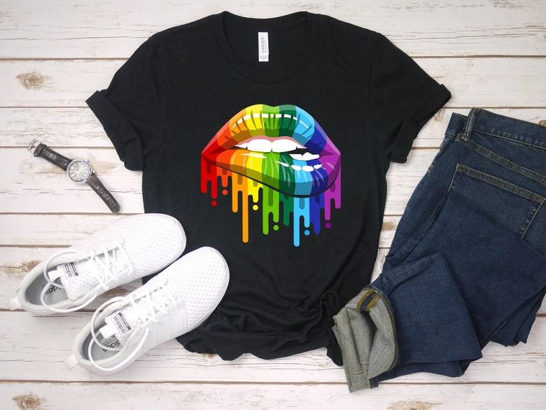 db9c92050a34 LGBT Rainbow Lips Pride Shirts For Gay Homosexual Lesbian   Etsy