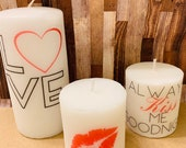 pillar candle set, candle set, decorative candles, home decor, decorationss, always kiss me goodnight, free shipping