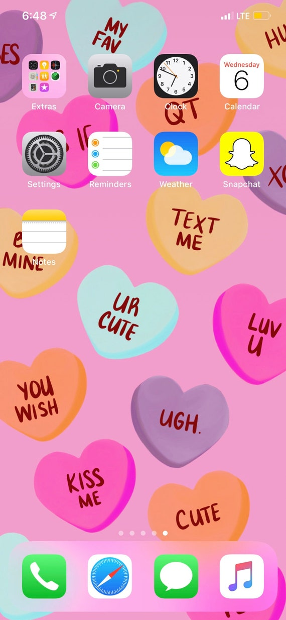 Conversation Hearts Valentine S Day Wallpaper Or Background For Iphone