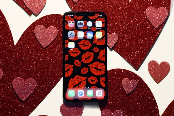 Red Lipstick Kiss Marks Valentine S Day Wallpaper Or Background For Iphone