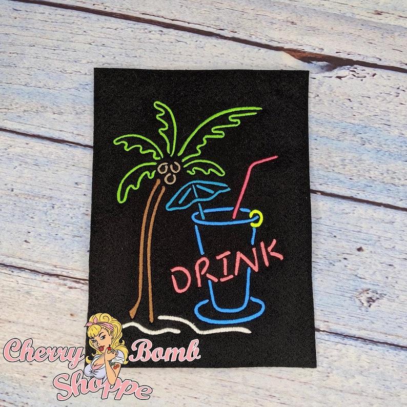 DIGITAL DOWNLOAD Palm Tree Drink Line Art Embroidery Design