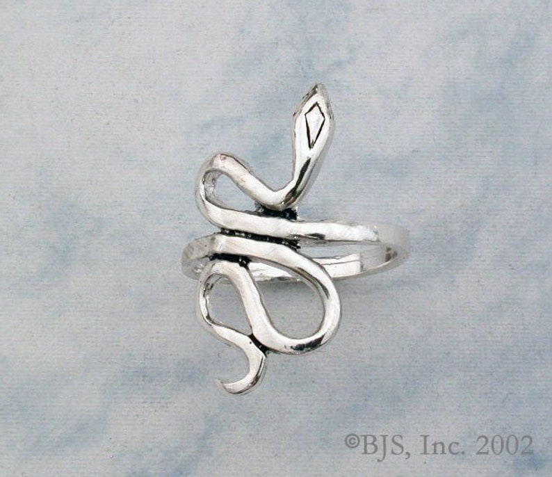 Sterling Silver Snake Ring Available in US Sizes 5-20 Diamond Head Pattern Snake Jewelry Includes Free US Shipping Snakes