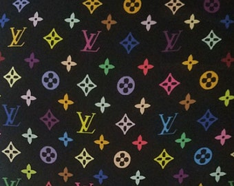 6530521e6cf7 LV monogram Inspired Spandex Fabric - Multicolor Black