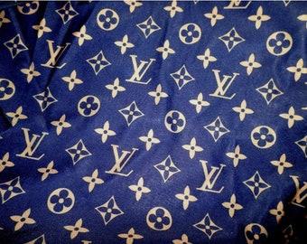 d649628132bb Monogram Inspired Spandex Fabric -Navy
