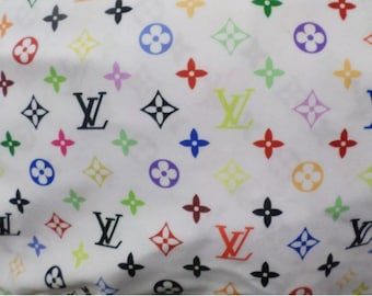 39cf04c92a63 Monogram Inspired Spandex Fabric - Multicolor White