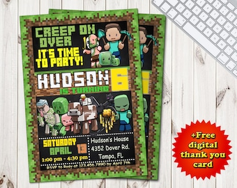 Mine Themed Invitation Personalized Printable Boy Girl Birthday Printables Video Game Party Inspired By