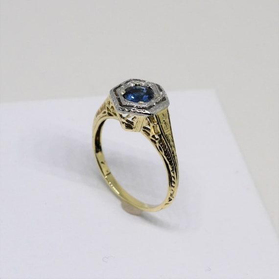 Sapphire ring, vintage sapphire ring, September bi