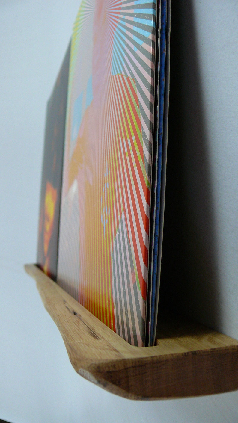 Vinyl wall mount double record strip shelf wooden strip vinyl shelf record holder