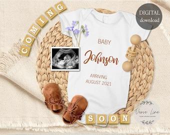 Baby announcement August 2021 8x8 DIGITAL DOWNLOAD Digital Pregnancy Announcement for Social Media