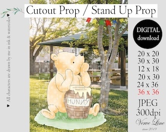 Cutout Decor Winnie The Pooh, Classic Winnie the Pooh Baby Shower, Birthday Party, Cutout Prop /Stand Up Prop DIGITAL DOWNLOAD 0001
