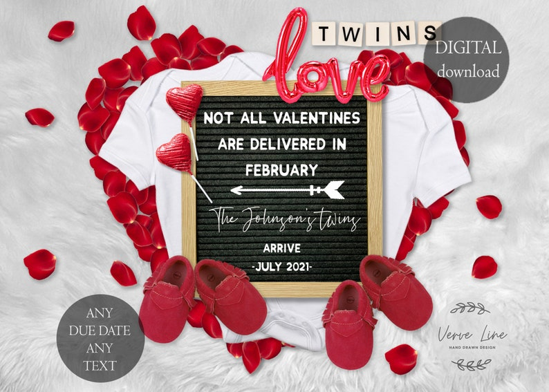 Valentine/'s Pregnancy Announcement Twins for Social Media  Baby announcement July 2021 5x7 DIGITAL DOWNLOAD