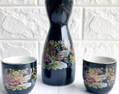 Vintage Black Peacock & Lotus Motif Sake Set by DL Japan, Japanese Art Shot Glasses
