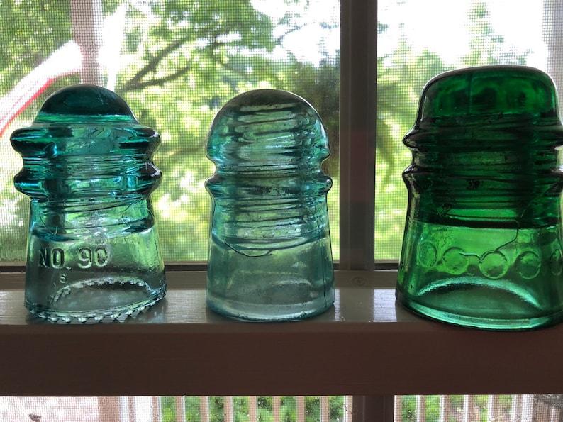 Gayner #90 Emerald Green Brookfield Star Collection of 3 Glass Insulators