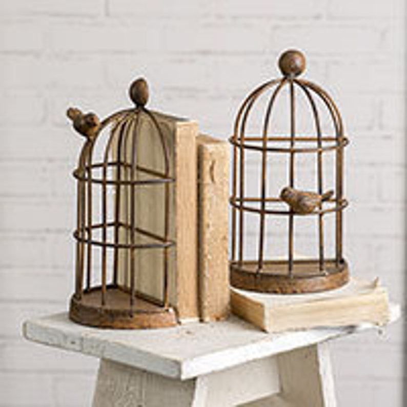 Bird Cage Bookends - Books and Cookbooks Bookends - Farmhouse Decor - Home  Decor - Rustic Bookends - Etsy Bookends - Etsy Bird Cage Bookends