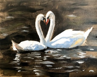 SWANS COUPLE HEART LOVE MOUNT Picture Canvas art Prints