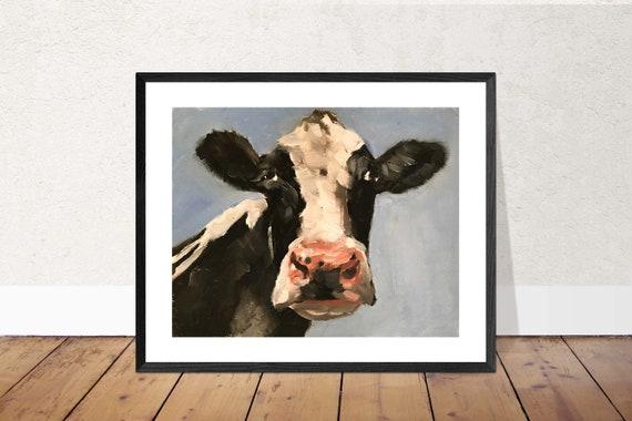 White Cow Print Rustic Home Decor Farmhouse Art Vegan gift Swiss Cow Print