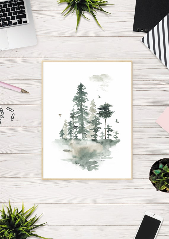 Watercolor Forest Art Print Pine Trees Printable Tumblr Room Etsy