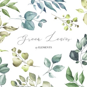 Digital downloads PNG Floral gold silver leaves botanical art greenery wedding bouquets clipart Watercolor green leaves arrangements