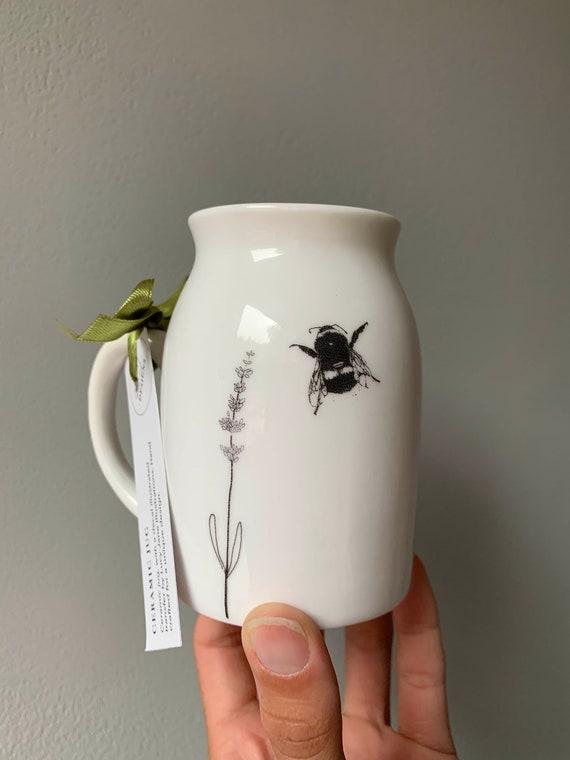 Bumble Bee and Lavender illustrated ceramic jug / bud vase