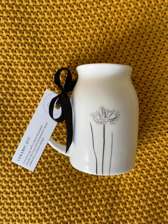 English Country Floral illustrated ceramic bud vase / jug