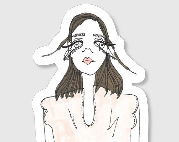 Stickers à l'unité - La fille fille à la blouse et jupe en toile de jouy