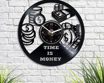 Time Is Money Lp Vinyl Record Wall Clock Vintage Work Art Birthday Gift For Businessman Modern Him Large