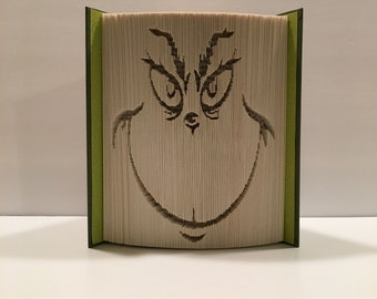 Book Folding Pattern, Grinch face, Christmas, Holiday Decoration