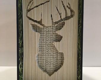 Folded Book Art Pattern - Buck, Deer, Stag, Cut and Fold Pattern