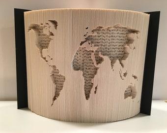 Folded Book Art Pattern, World Map pattern, World Map, Map