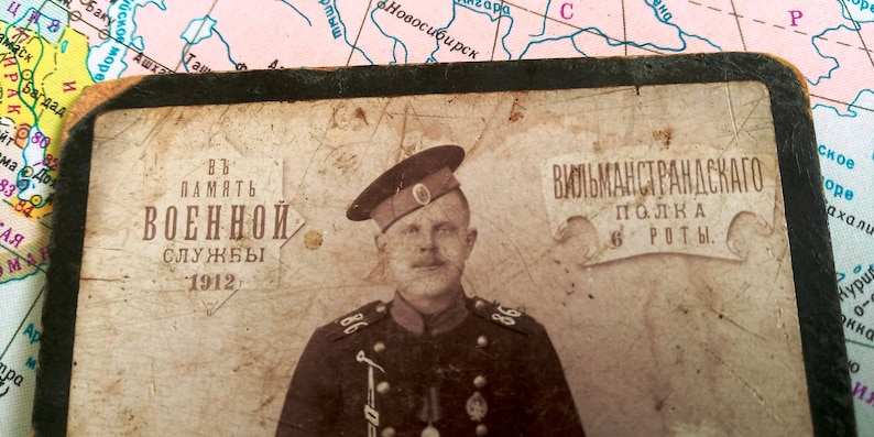 Old photo of a military soldier.Photo of military service.VILMANSTRANDSKY regiment of the 6th company.Old photo,vintage card,photo soldier.