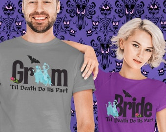 Disney Haunted Mansion Couple Shirt | Disney Couples Shirt | Honeymoon Shirt | Plus Size Disney Shirts | Hitchhiking Ghost Bride Shirt Groom