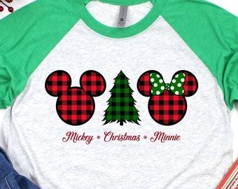 Mickey Christmas Minnie Buffalo Plaid Shirt | Disney Christmas Shirts | Holiday Mickey Mouse | Holiday Minnie Mouse | Disneyland Raglan