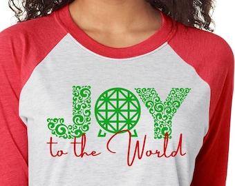 Christmas Epcot Shirt - Joy to the World Disney Shirt - Disney Epcot Shirts for the Family - Plus Size Disney Christmas Tees